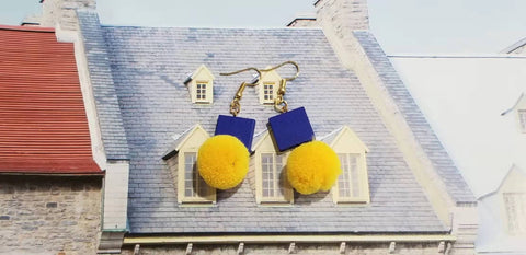 Blue square bead & Yellow pompom Earrings D2-2