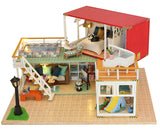 Hoomeda 13841 Container Home A DIY Dollhouse Kit 3D Japanese Style With Music Cover Light