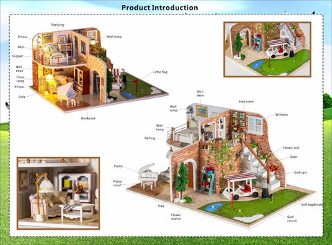 Hoomeda X002 Diy Doll House furniture toys for children miniature Dollhouse casa dolls Houses Birthday Christmas Gifts Scottish Estate