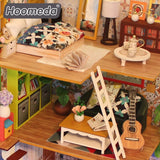 Hoomeda M029 Thank you for being a friend DIY Dollhouse With Music Motor Cover Light Miniature