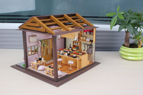 Hoomeda diy doll house miniatures wooden toys 13827 Sakura sushi shop for kids gift