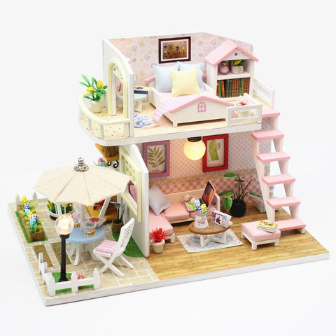 Hoomeda M033 Pink Loft DIY House With Furniture Music Light Cover Miniature High Quality Decor Toy