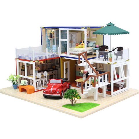 Hoomeda 13842 Container Home B With Music Cover Light DIY Dollhouse Kit 3D Japanese Style