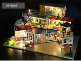 Hoomeda 13843  Container Home  3D Wooden Puzzle DIY Handmade With Music Light DIY Dollhouse Kit 3D Japanese Style
