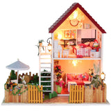 Hoomeda 13828 The Star Dreaming House DIY Dollhouse With Light Music Miniature Model Gift Decor Toy Gift For Friend Children