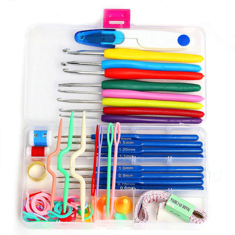 New 16 Sizes Crochet Hooks Needles Stitches Knitting Craft Case Crochet Set Stainless Steel&Plastic Sewing Accessories Tool Sets