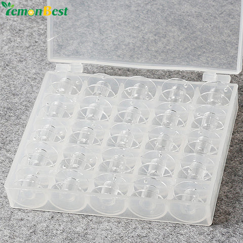 25pcs Sewing Machine Plastic Clear Empty Bobbins Spool For Sewing Machines With Thread Storage Box For Brother Janome Singer