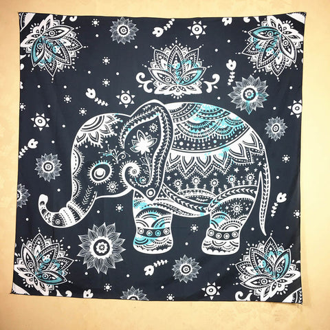 Elephant Print Square Decorative Tapestry Beach Throw Roundie Towel Yoga Mat