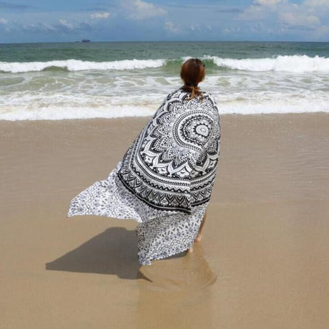 Black Printed Beach Cover Up Bikini Summer Dress Swimwear Bathing Suit Yoga Mat