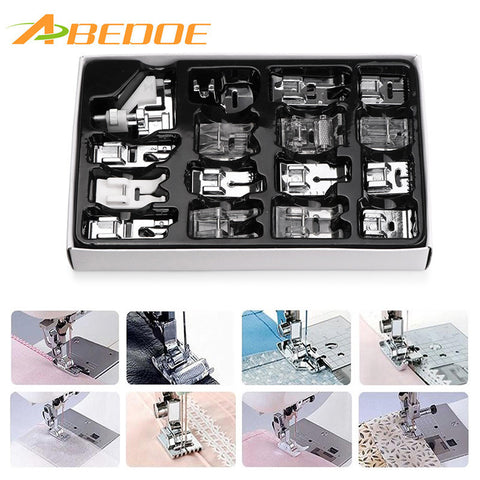 ABEDOE 16pcs Sewing Machine Presser Foot Set Sewing Knitting Crochet Hem Foot Spare Parts Accessories for Brother Singer Janom