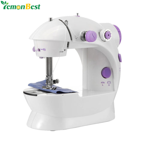 Electric Sewing Machine 2-Speed Portable Tailor Small House Sewing Machine Mini Multifunction Automatic Tread Rewind Sewing Mach