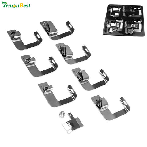 "8Pcs Multifunction Rolled Hammer Foot Presser Foot Spare Parts Accessories 4/8"" 5/8"" 6/8"" 8/8"" For Sewing Machine Brother Singer"