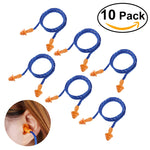 NUOLUX 10 Pairs of Soft Silicone Corded Ear Plugs Reusable Hearing Protection Earplugs