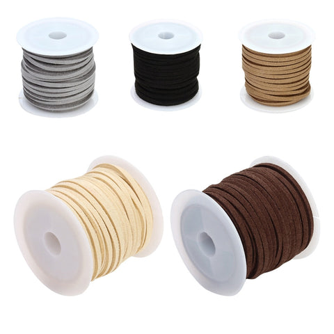 5pcs 3mm Faux Leather Suede Beading Cords Thread Velvet String for Jewelry