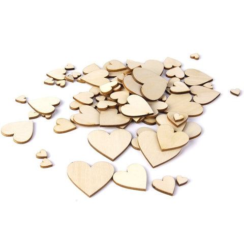 100pcs Plain Wooden Heart Embellishments for Crafts