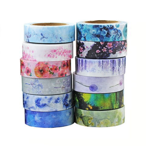 12 Rolls Washi Masking Tape Set Decorative Craft Tape Collection for DIY and Gift Wrapping with Colorful Designs and Patterns