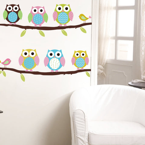 Self Adhesive Baby Kids Bedroom Cartoon Owl Branch Decal Removable Mural Wall Art Sticker Nursery Room Decor DIY