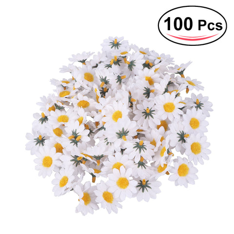 100pcs Artificial Gerbera Daisy Flowers Heads for DIY Wedding Party (White)