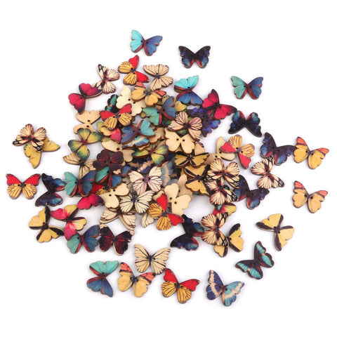 100pcs 2 Holes Mixed Butterfly Wooden Button for Sewing Scrapbooking DIY Craft