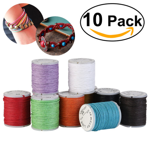 WINOMO 10pcs 10M 1MM Waxed Cotton Cords Strings Ropes for DIY Necklace Bracelet Craft Making (Mixed Color)