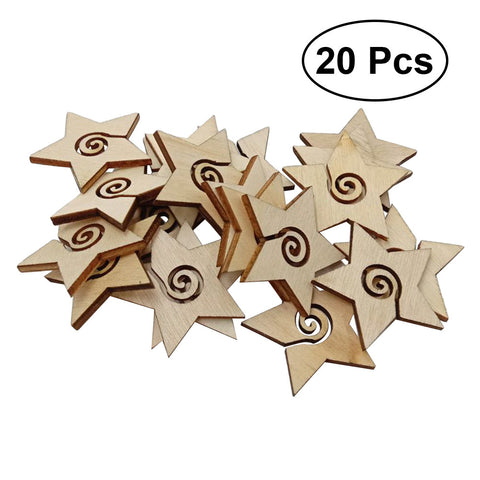 20pcs Star Wooden Slices Wood Button Crafts Embellishment DIY Craft Ornament Decoration for Wedding Festival Party