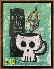 "SHAG/HAZE XXL ""Skull Buddy Still Life"" collab linoprint ***LAST ONE***"