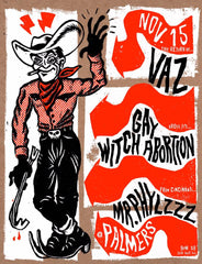 "Palmers:"" Mr. Phylzzz/Gay Witch Abortion/Vaz concert poster"