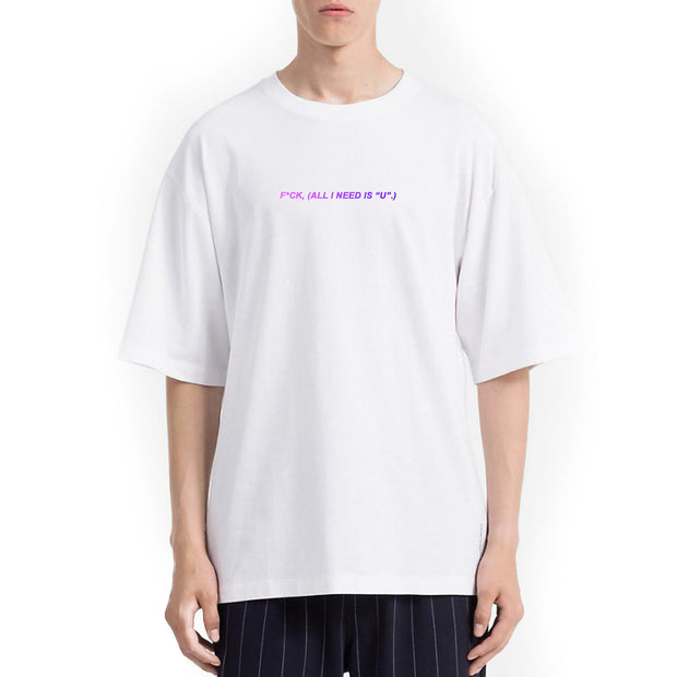 "F*ck (All I Need Is ""U""). Tshirt Oversize Uomo Con Stampa Olografica - Concept Store."