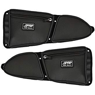 PRP Stock Front Door Bags with Knee Pad - Black Carbon Fiber Vinyl (PAIR)