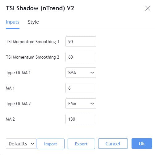 TSI Shadow indicator settings from TradingView