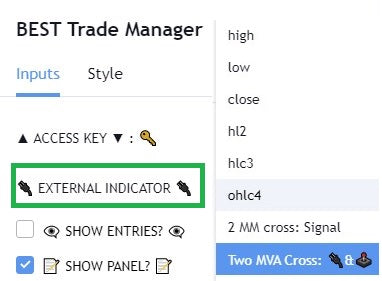Connect your external TradingView indicator