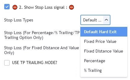 Trade Manager stop losses options based on price value or trailing stop