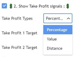 Take profit offering 3 options. Value/Percentage/Pips Distance