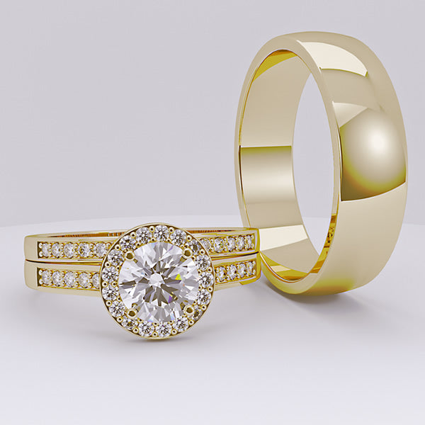 Gold and Tungsten Complete Wedding Set - 01BC01