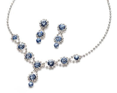 Sparkling Rhinestone Swirl & Crystal Necklace & Earrings  - 01SS18