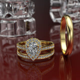 Pear Shape Diamond Complete Gold Wedding Set - 01US74