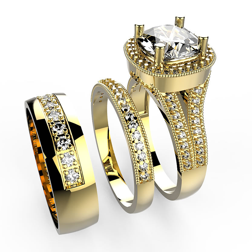 Gold Trio Wedding Set - 01AD02