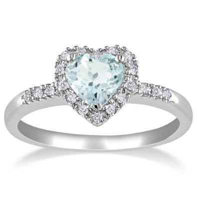 Sterling Silver Aquamarine and Diamond Heart Ring  - 01AQ01