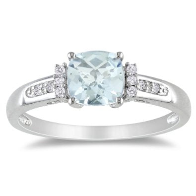 Sterling Silver Aquamarine and Diamond Ring - 01AQ04