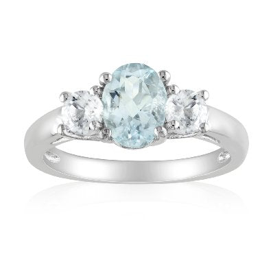 Sterling Silver Created White Sapphire and Aquamarine Ring - 01AQ06