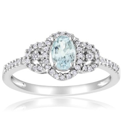 Sterling Silver Aquamarine and Diamond Ring - 01AQ07