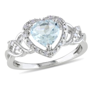 Sterling Silver Created Aquamarine Heart Ring - 01AQ08