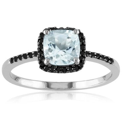 Sterling Silver Aquamarine and Black Diamond Ring - 01AQ10