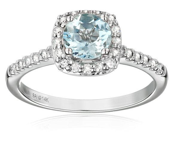 14k White Gold Aquamarine and Diamond Halo Engagement Ring - 01AQ12