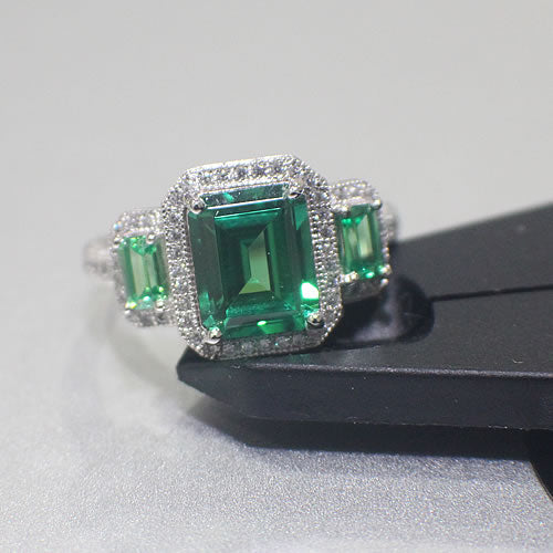 Sterling Silver Emerald Engagement Ring - 01AS13