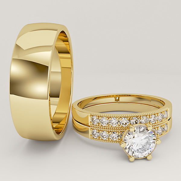 Gold and Tungsten Complete Wedding Set - 01BC04