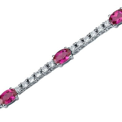 Oval Shape Ruby & White CZ Gemstone Bracelet in Sterling Silver - 01BR22