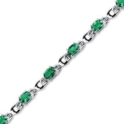 Oval Shape Emerald Gemstone Bracelet in Sterling Silver  - 01BR24