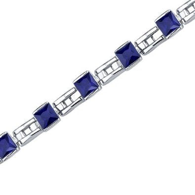 Princess Cut Blue Sapphire Gemstone Bracelet in Sterling Silver - 01BR25