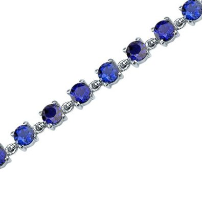 Round Shape Blue Sapphire Gemstone Bracelet in Sterling Silver - 01BR26
